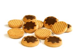 Cookies With Chocolate Isolated On White Royalty Free Stock Photos