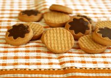 Cookies With Chocolate On Napkin Royalty Free Stock Photography