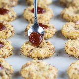 Cookies With Jam And Spoon Royalty Free Stock Image