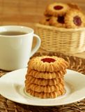 Cookies With Marmalade And Cup Of Tea Stock Photography