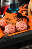 Cookies With Marzipan Brains For Halloween Stock Photos
