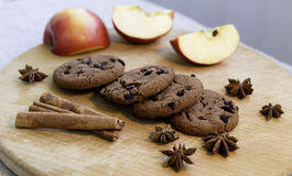 Cookies on wooden deck stock image