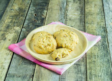 Cookies in wooden plate Stock Image