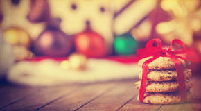 Cookies on wooden table Stock Images