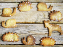 Cookies on a wooden table. Close up view cookies over wooden background Royalty Free Stock Images