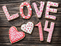 Cookies with the word love and the numbers 14 Valentine's Day Royalty Free Stock Image