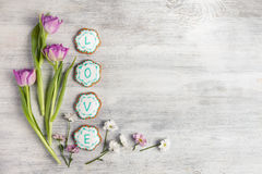 Cookies with word love. Top view Stock Photos