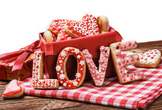 Cookies with the word love and the Valentine's Day Royalty Free Stock Photo