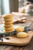 Cookies on Woven fabric on wooden tray Stock Photography