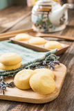 Cookies on Woven fabric on wooden tray Stock Photos