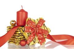 Cookies Xmas ribbon balls candle Royalty Free Stock Photography