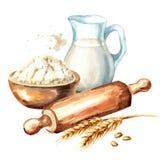 Cookig集合 木滚针、碗面粉和水罐牛奶 水彩手拉的例证,隔绝在白色背景 库存例证