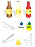 Cooking. Collection of sauces, ingredients and utensils vector illustration