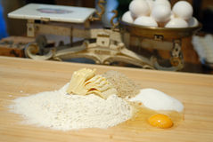 Before cooking. Before coking. eggs, butter and household scales Stock Photography