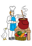 Cooking. A chef is cooking in the kitchen royalty free illustration
