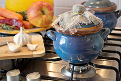 Cooking. At home in blue pot Stock Image