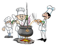 Cooking. Three chefs cooking food in a large stew Stock Image