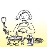 Cooking. Hand drawn image of a lady cooking food Royalty Free Stock Photo