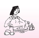 Cooking. Hand drawn image of a lady cooking soup stock illustration