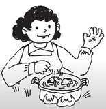 Cooking. Hand drawn image of a lady cooking food Royalty Free Stock Photos