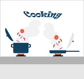 Cooking - adding ingredients in a saucepan and a frying pan standing on the stove Stock Photos