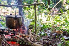 Cooking in the Amazon. Cooking food at a campsite deep within the Amazon rainforest in Peru Stock Photos