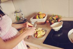 Cooking apple pie Royalty Free Stock Images