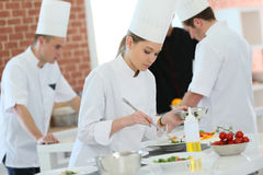 Cooking apprenticeship Royalty Free Stock Photos