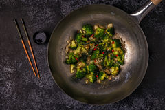 Cooking asian wok with stir fry vegetables Stock Images