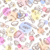 Cooking background. Baking doodle background. Vector seamless pattern with kitchen tools. Hand drawn baking utensils. Cooking tools with watercolor spots on Stock Photo