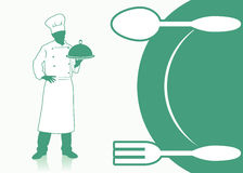 Cooking background with chef Stock Images