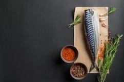 Cooking background, fresh raw mackerel Royalty Free Stock Photography