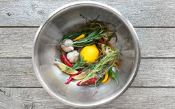 Cooking background, herbs and seasoning bowl Stock Photos