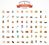 Cooking & Backing flat icons, Kitchenware elements Royalty Free Stock Images
