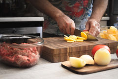 Cooking baked meat with potatoes horizontal Royalty Free Stock Image