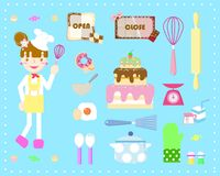 Cooking bakery set. With the girl in blue background vector illustration