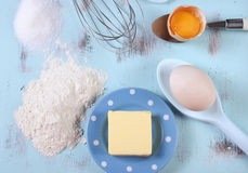 Cooking and baking concept with eggs, flour, sugar and butter Royalty Free Stock Image