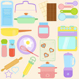 Cooking, Baking Tools in Pastel Royalty Free Stock Images