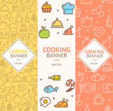 Cooking Banner Flyer Vertical Set. Vector Royalty Free Stock Photography