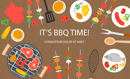 Cooking banner with grill top view Stock Image