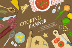 Cooking banner with kitchenware Royalty Free Stock Photos