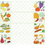 Cooking banners with different food. Cooking banners with fruits, vegetables, meat, fish and sweets Royalty Free Stock Images