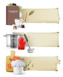 Cooking banners. 3 highly detailed cooking banners in retro style vector illustration