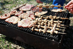 Cooking - Barbeque. Meat, sausages and mushrooms on the barbeque Royalty Free Stock Photos