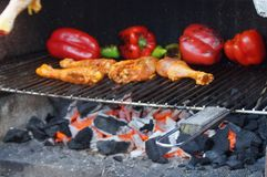 Cooking in the barbecue - Grip Taking of view sight outside, without character and of day. Royalty Free Stock Photo