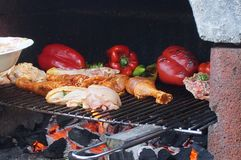 Cooking in the barbecue. A delicious meal in the barbecue. Peppers and chicken roasted in the barbecue. Summer meal. Royalty Free Stock Photos