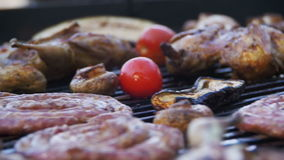 Cooking Barbecue Delicious Sausages, Meat and Vegetables on the Grill. Slow Motion stock video