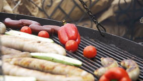 Cooking Barbecue Delicious Sausages and Vegetables on the Grill. Slow Motion stock video footage