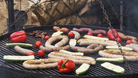 Cooking Barbecue Delicious and Vegetables on the Grill stock video footage