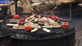 Cooking Barbecue Delicious and Vegetables on the Grill stock footage